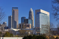 Charlotte, Carolina Skyscrapers del nord fotografia stock libera da diritti
