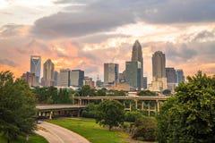 Charlotte, Carolina Sunset du nord 3 Image stock