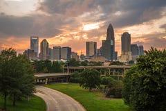 Charlotte, Carolina Sunset du nord 4 Image stock
