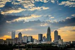 Charlotte, Carolina Sunset norte Fotos de Stock Royalty Free