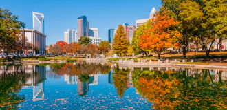 Charlotte city skyline autumn season Royalty Free Stock Images