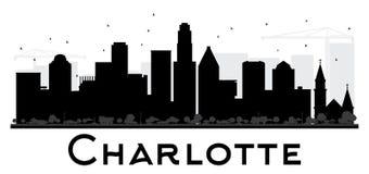 Charlotte City skyline black and white silhouette. Stock Photo