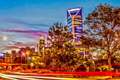 Charlotte city skyline early morning at sunrise Royalty Free Stock Photo