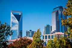 Charlotte city skyline from marshall park autumn season with blu Stock Photography