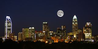 Charlotte City Skyline at Night with Full Moon royalty free stock photography