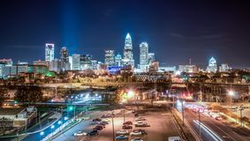 Charlotte City Skyline night scene Royalty Free Stock Images