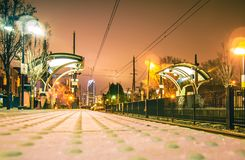 Charlotte City Skyline night scene with light rail system lynx t Royalty Free Stock Photos