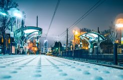 Charlotte City Skyline night scene with light rail system lynx t Stock Images