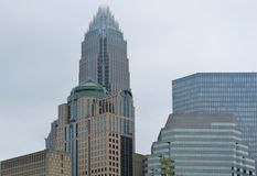 Charlotte da parte alta da cidade NC - skyline parcial Fotos de Stock Royalty Free
