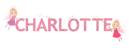 Charlotte female name with cute fairy Royalty Free Stock Images