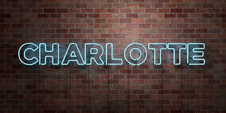 CHARLOTTE - fluorescent Neon tube Sign on brickwork - Front view - 3D rendered royalty free stock picture Royalty Free Stock Photography