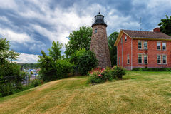 Charlotte Genesee Lighthouse, Meer Ontario in Rochester stock foto's