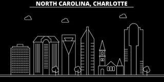 Charlotte konturhorisont USA - Charlotte vektorstad, amerikansk linjär arkitektur, byggnader Charlotte lopp vektor illustrationer