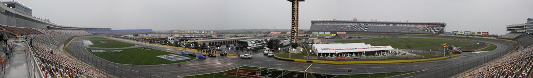 Charlotte Motor Speedway NASCAR Turn One Panarama. Charlotte Motor Speedway Turn One during a rained out Sprint Cup qualifying for the 2010 All-Star Race waiting royalty free stock photography
