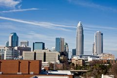 Charlotte, NC. Charlotte Skyline with Bobcats Arena Stock Photography