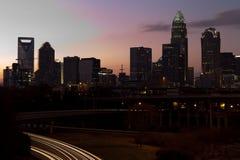 Charlotte NC an der Dämmerung Lizenzfreies Stockbild