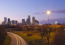 Charlotte, NC at Dusk Royalty Free Stock Photography