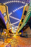 Charlotte, nc - january 1st, 2014: Night view of a narrow alley Royalty Free Stock Photo