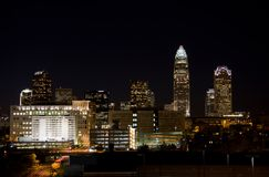Charlotte, NC at Night Royalty Free Stock Photo