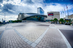 Charlotte, NC - October, 11, 2014  nascar hall of fame plaza in t Stock Photography
