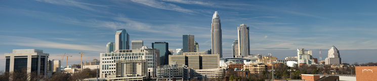 Charlotte, NC Panorama. Uptown Charlotte, North Carolina Skyline Panorama stock images