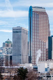 Charlotte nc skyline covered in snow Royalty Free Stock Photos