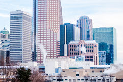Charlotte nc skyline covered in snow Stock Photos