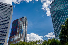 Charlotte nc skyline and street scenes during day time Royalty Free Stock Photo