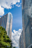 Charlotte nc skyline and street scenes during day time Royalty Free Stock Images