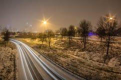 Charlotte nc usa skyline during snow Stock Photos
