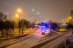 Charlotte nc usa skyline during snow Stock Photography