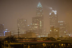 Charlotte nc usa skyline during snow Stock Photo