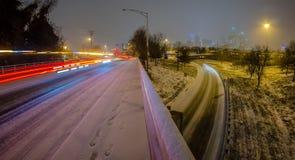 Charlotte nc usa skyline during snow Royalty Free Stock Image