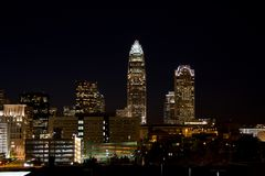 Charlotte at Night. Charlotte, North Carolina Skyline at Night royalty free stock photography