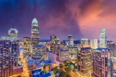 Charlotte norr Carolina Skyline Arkivfoto