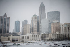 Charlotte, North Carolina. Rare snow storm covered charlotte downtown stock photography