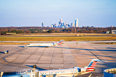 Charlotte north carolina airport with city skyline Stock Image