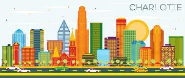 Charlotte North Carolina City Skyline avec des bâtiments de couleur et B illustration de vecteur
