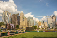 Charlotte north carolina city skyline from bbt ballpark Royalty Free Stock Photography
