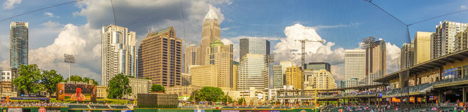 Charlotte north carolina city skyline from bbt ballpark Royalty Free Stock Images