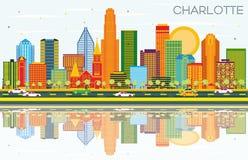Charlotte North Carolina City Skyline met Blauwe Kleurengebouwen, royalty-vrije illustratie