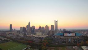 Charlotte north carolina city skyline and street scenes stock video