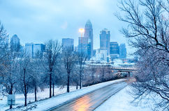 Charlotte north carolina city after  snowstorm and ice rain Stock Photography