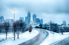 Charlotte north carolina city snowstorm and ice rain Stock Photography