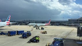 CHARLOTTE, NORTH CAROLINA - June 2016: American Eagle Airlines airplanes. Lined up at terminal gates in Charlotte, North Carolina stock video footage