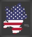 Charlotte North Carolina-kaart met Amerikaanse nationale vlag illustr vector illustratie