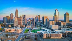 Charlotte North Carolina NC Drone Skyline Aerial stock image