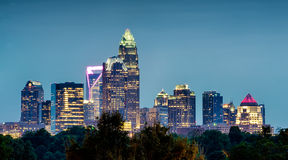 Charlotte north carolina night skyline royalty free stock photography