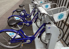 Charlotte, North Carolina's Bike Sharing Program. Rack of Bicycles in Charlotte, North Carolina. Part of the Charlotte B-Cycle bike sharing program, in stock photo