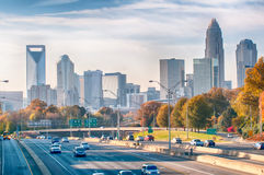 Charlotte North Carolina Skyline During Autumn Season At Sunset Royalty Free Stock Photos